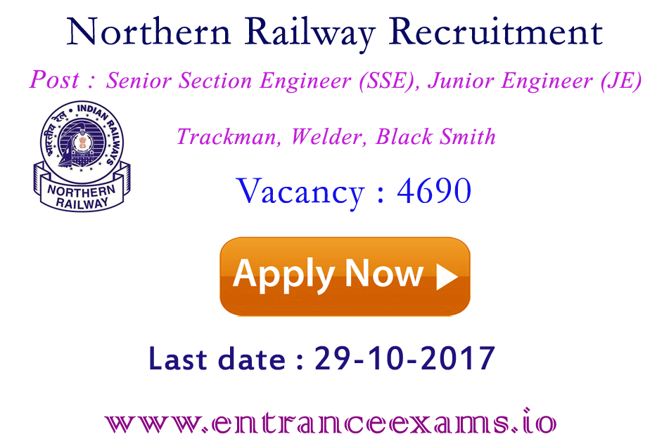 RRCNR Recruitment 2017 | Latest Jobs in Railway 4690 Vacancies for Trackman, Sr Section, Junior Engineer