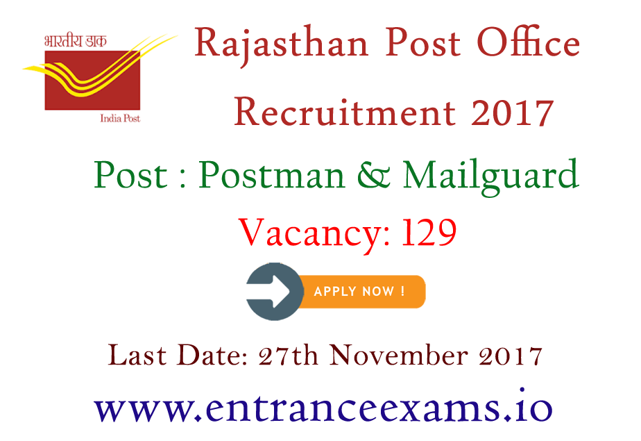 Rajasthan Postal Circle Recruitment 2017   186 Post Office Jobs in Rajasthan