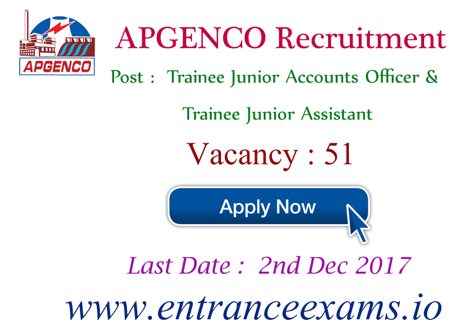Apply for APGENCO JAO Recruitment 2021   Latest APGENCO Careers