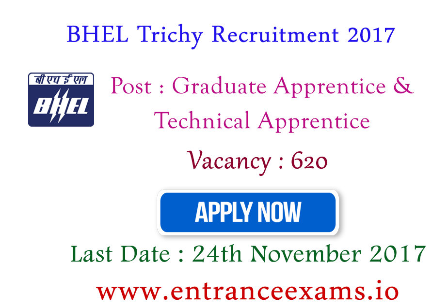 BHEL Tiruchirapalli Recruitment 2017   Apply for 620 Diploma & Engineering Apprentice posts