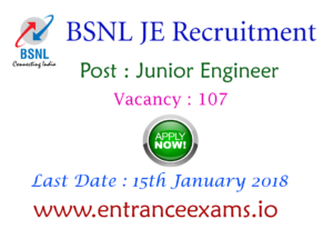 BSNL Junior Engineer Recruitment 2017   Apply Online 9145 BSNL LICE JE Vacancies