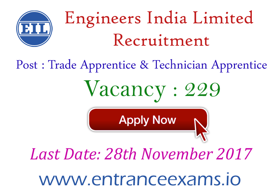 Engineers India Limited Recruitment 2017   229 Trade Apprentice & Technician Apprentice Jobs