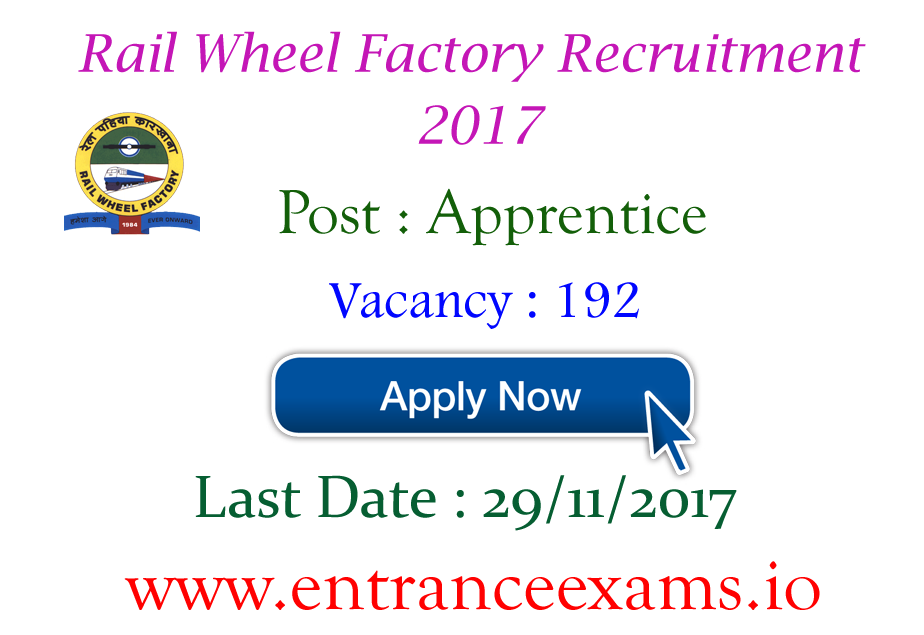 RWF Apprentice Recruitment 2017   Apply online for 192 Rail Wheel Factory Jobs