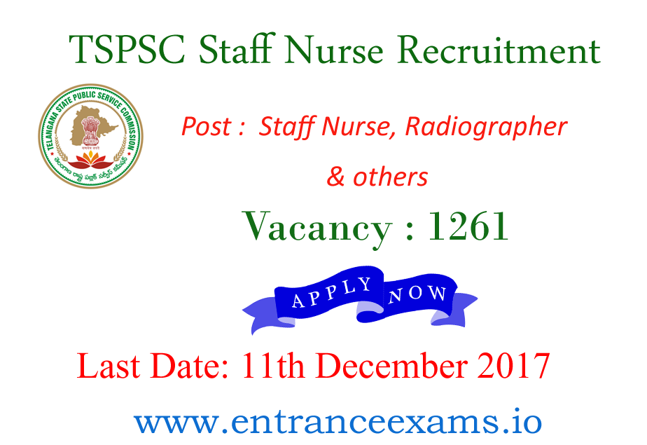 Telangana PSC Staff Nurse Recruitment 2017   Apply for 1261 Paramedical Staff Jobs