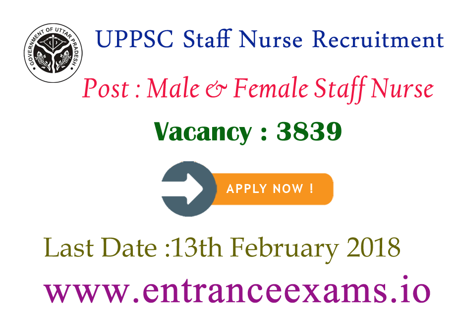 UPPSC Staff Nurse Recruitment 2017   3839 Staff Nurse jobs in Uttar Pradesh