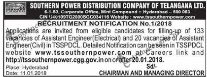TSSPDCL Notificaiton 2018   153 Telangana Assistant Engineer Posts @ tssouthernpower.cgg.gov.in