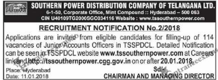114 TS Junior Accounts Officer Posts   TSSPDCL Notification 2018 @ tssouthernpower.cgg.gov.in